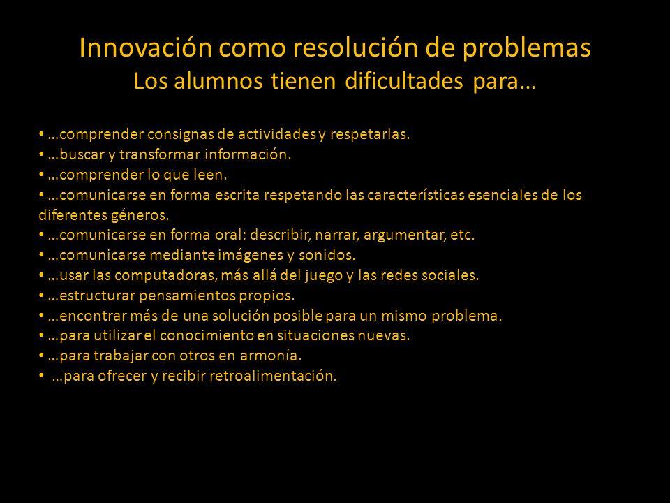 Innovación como resolución de problemas Los alumnos tienen dificultades para…