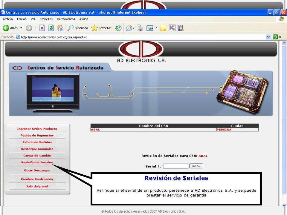Revisión de Seriales Verifique si el serial de un producto pertenece a AD Electronics S.A.