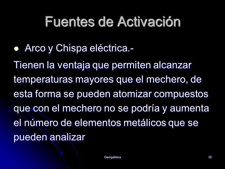 Fuentes de Activación Arco y Chispa eléctrica.-
