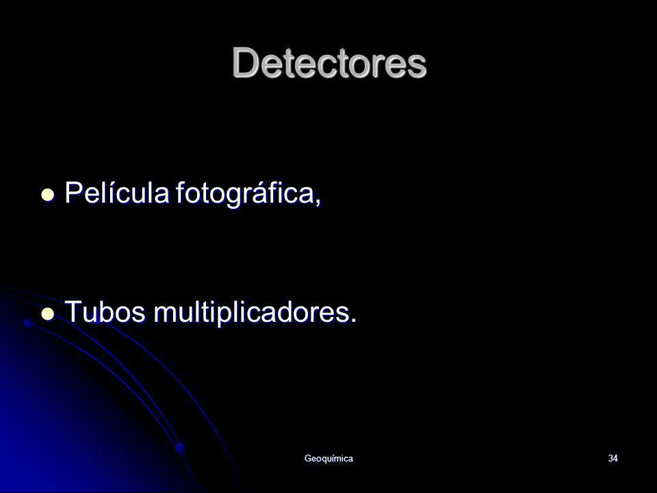 Detectores Película fotográfica, Tubos multiplicadores. Geoquímica