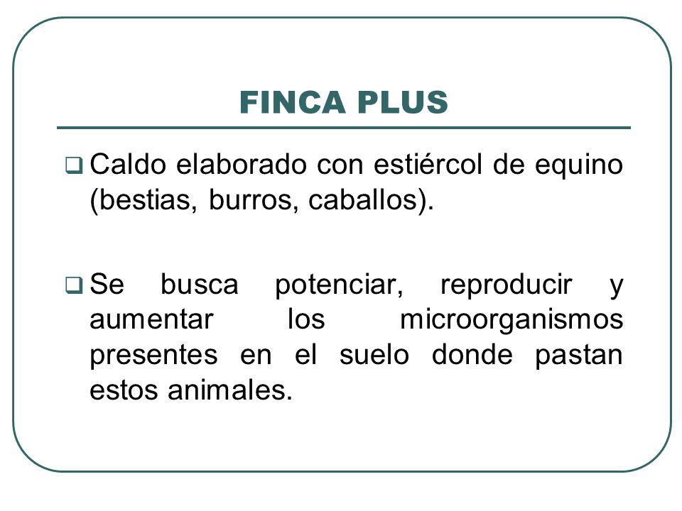 FINCA PLUS Caldo elaborado con estiércol de equino (bestias, burros, caballos).