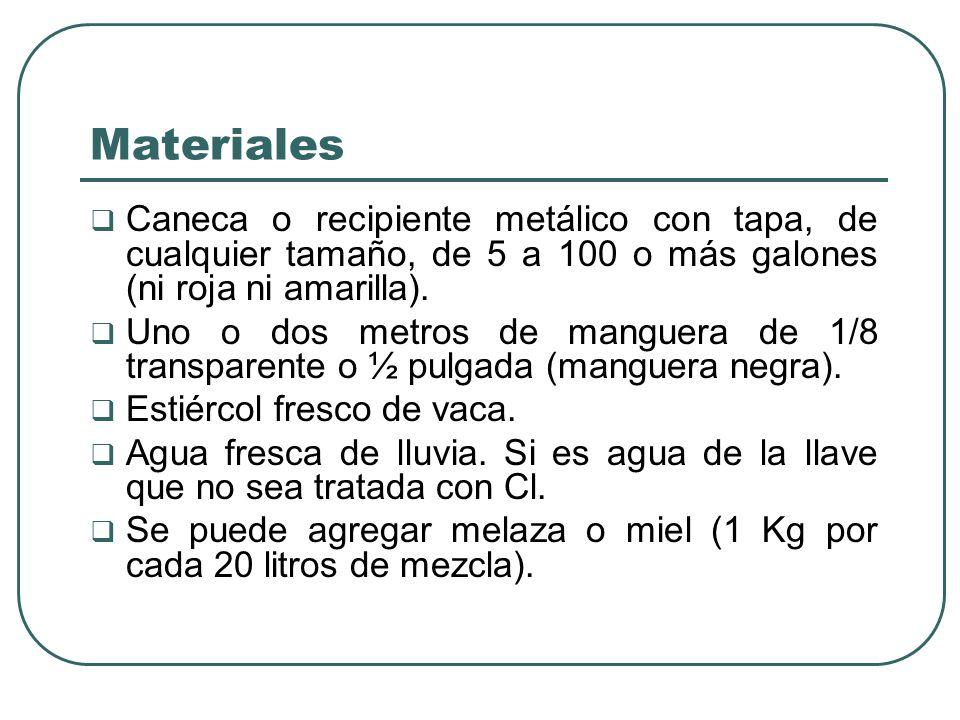 Materiales Caneca o recipiente metálico con tapa, de cualquier tamaño, de 5 a 100 o más galones (ni roja ni amarilla).