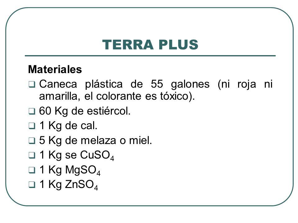 TERRA PLUS Materiales. Caneca plástica de 55 galones (ni roja ni amarilla, el colorante es tóxico).