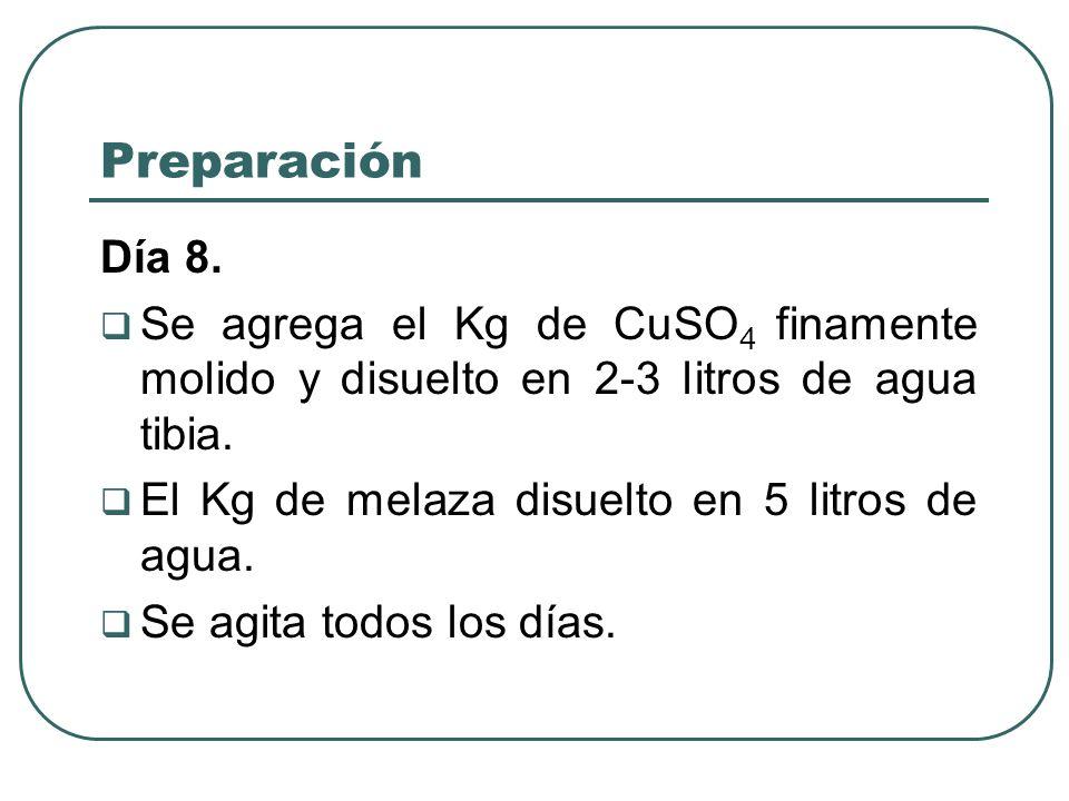 Preparación Día 8. Se agrega el Kg de CuSO4 finamente molido y disuelto en 2-3 litros de agua tibia.