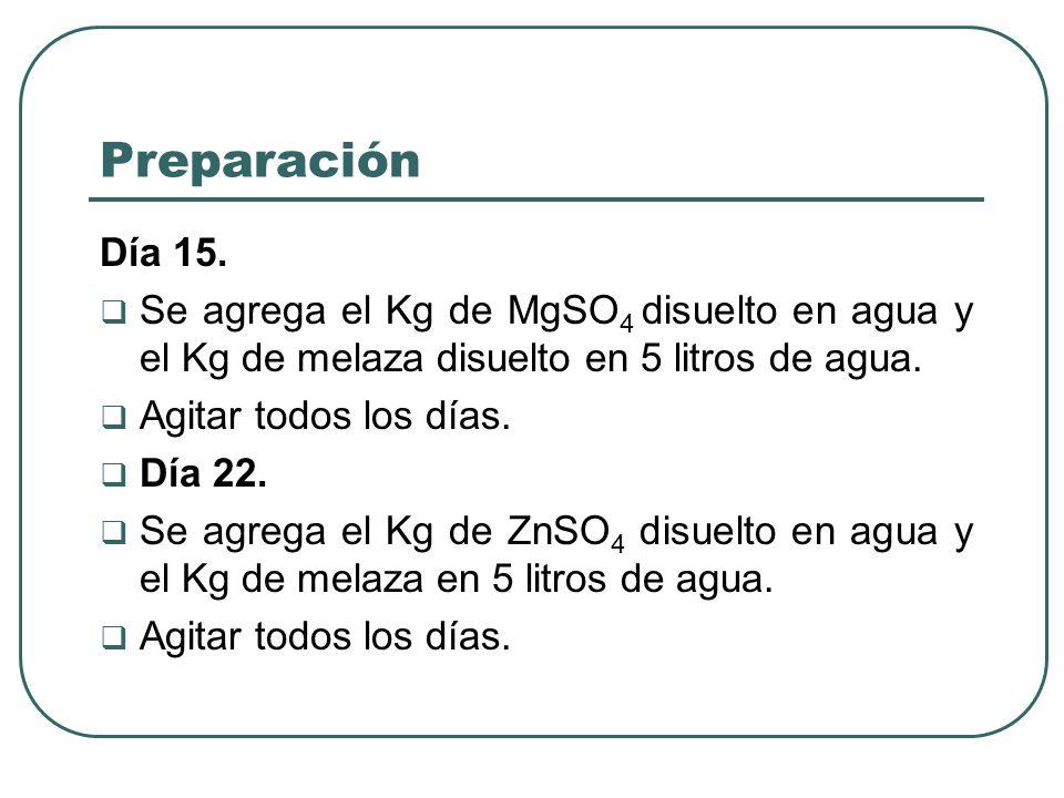 Preparación Día 15. Se agrega el Kg de MgSO4 disuelto en agua y el Kg de melaza disuelto en 5 litros de agua.
