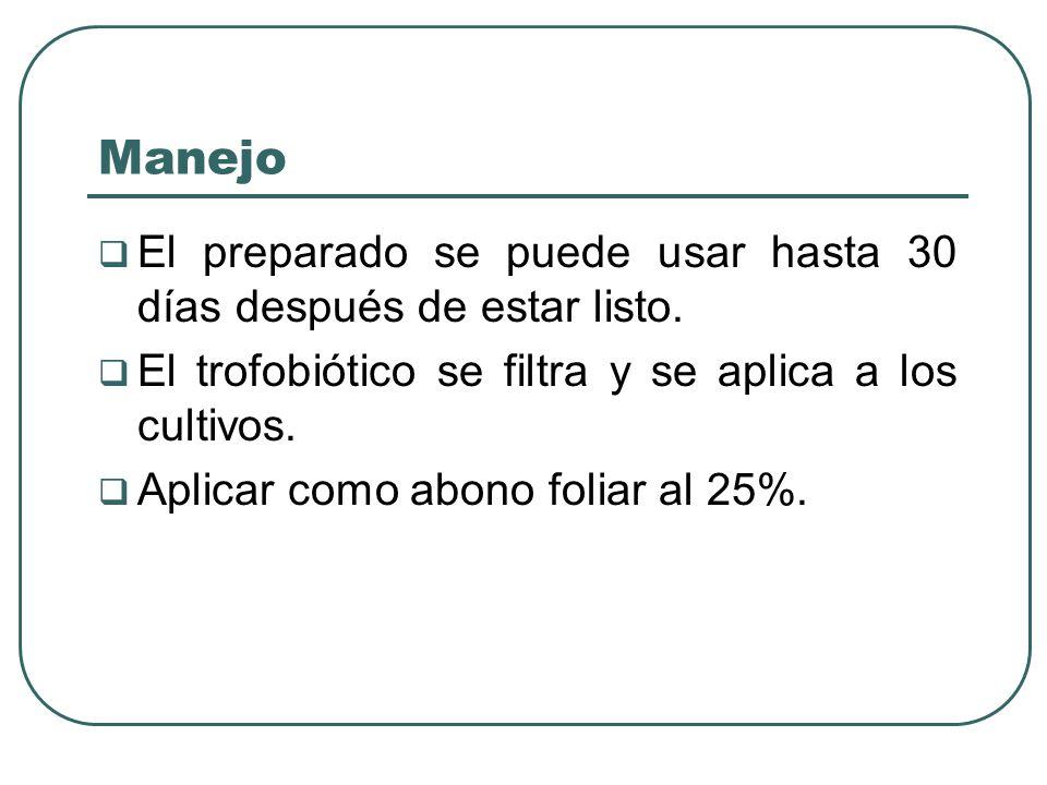 Manejo El preparado se puede usar hasta 30 días después de estar listo. El trofobiótico se filtra y se aplica a los cultivos.