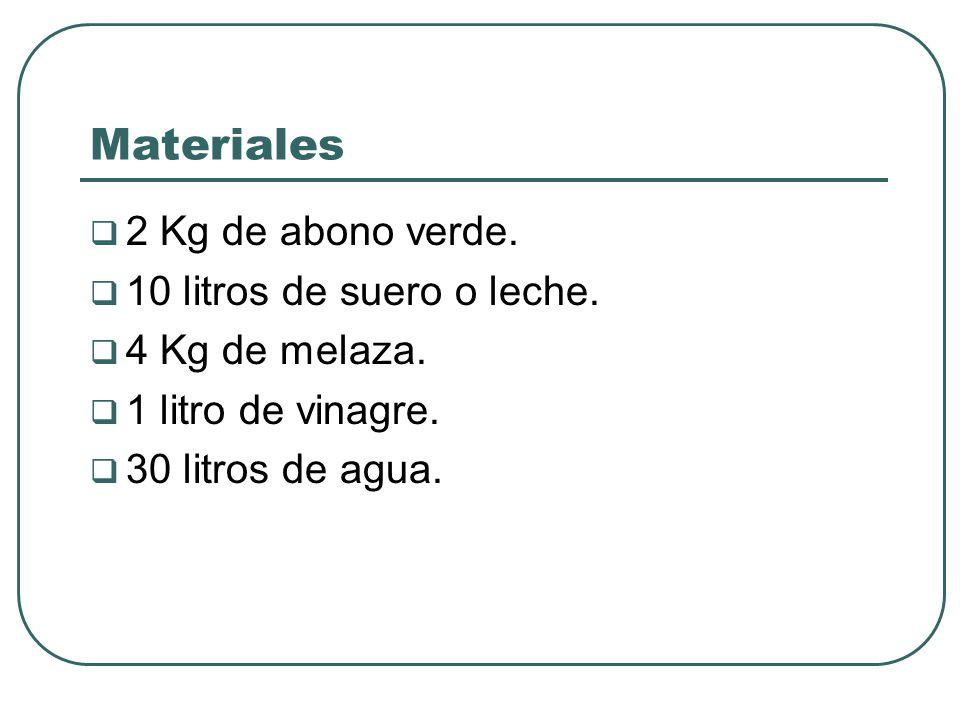 Materiales 2 Kg de abono verde. 10 litros de suero o leche.