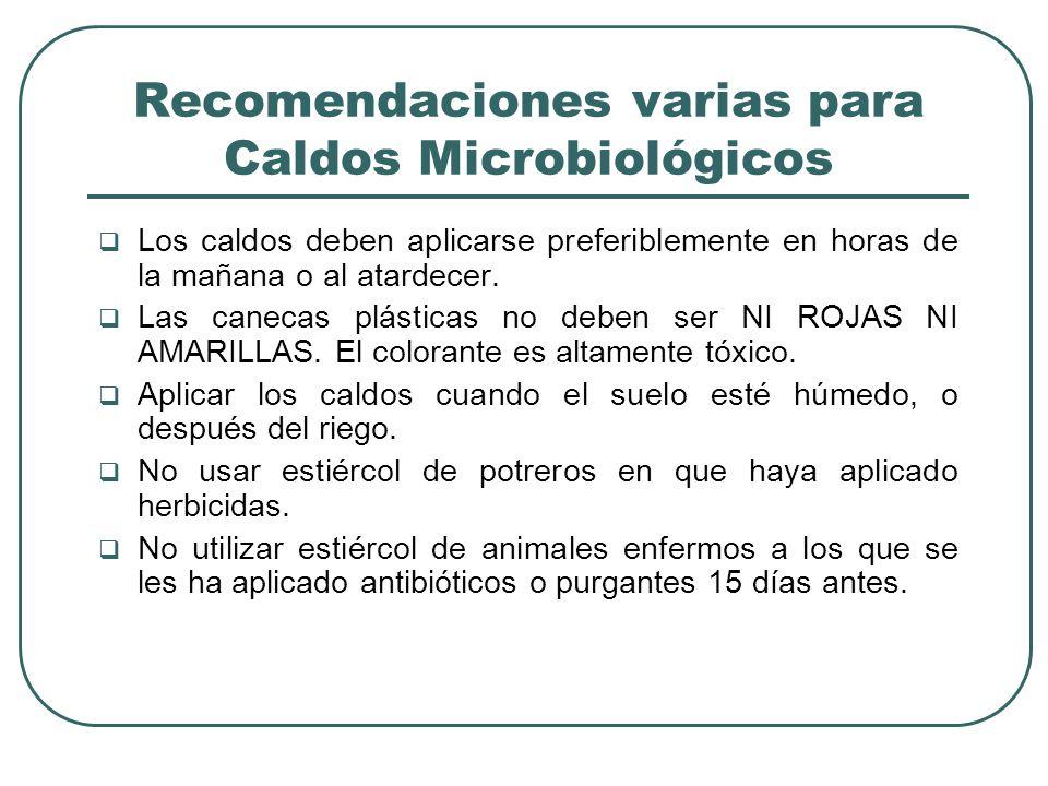 Recomendaciones varias para Caldos Microbiológicos