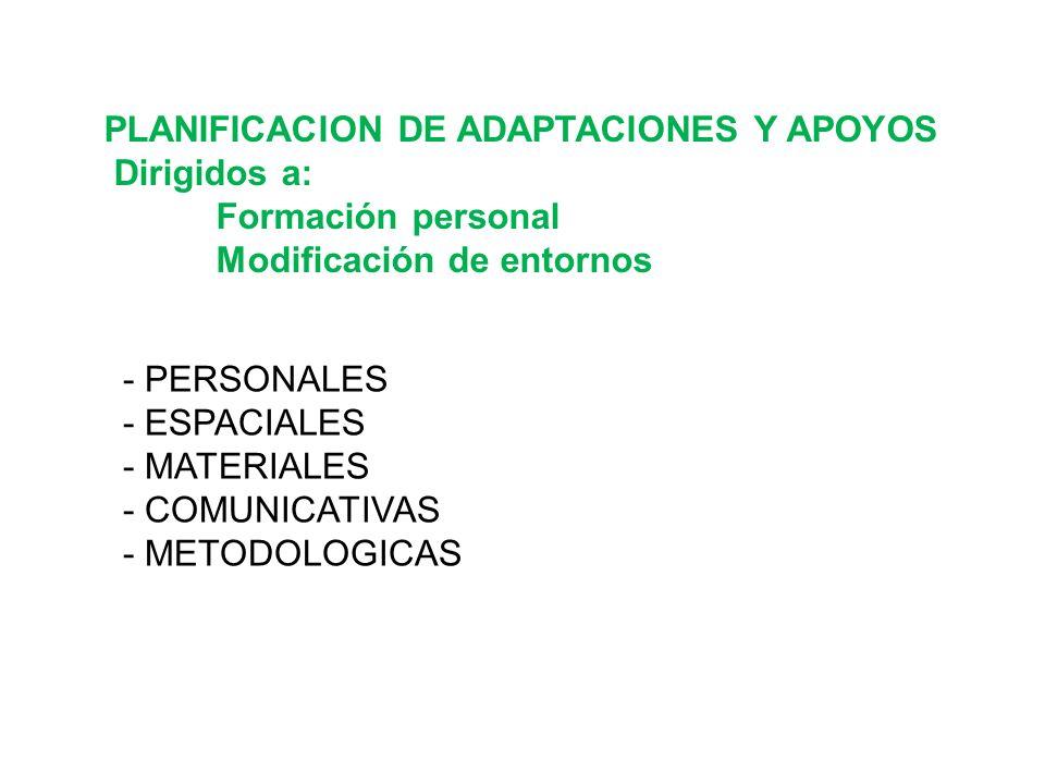 PLANIFICACION DE ADAPTACIONES Y APOYOS