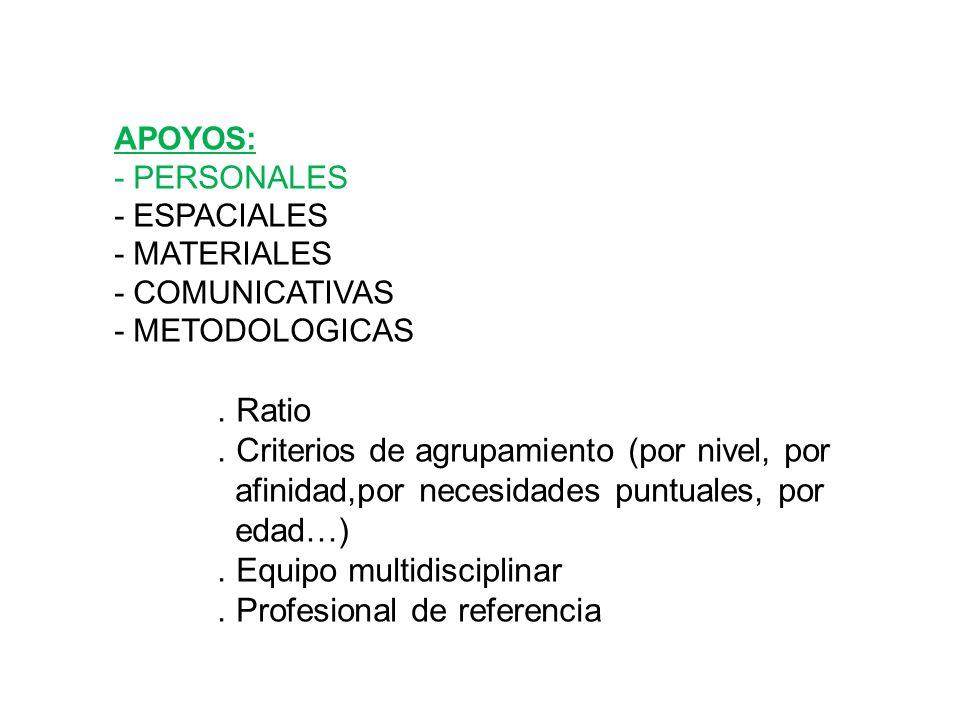 . Criterios de agrupamiento (por nivel, por