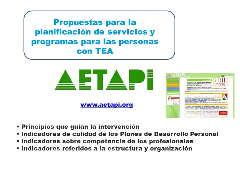 Propuestas para la planificación de servicios y programas para las personas con TEA