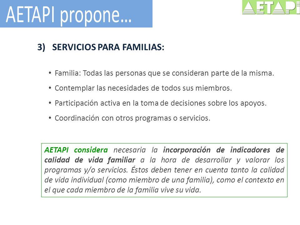 AETAPI propone… SERVICIOS PARA FAMILIAS:
