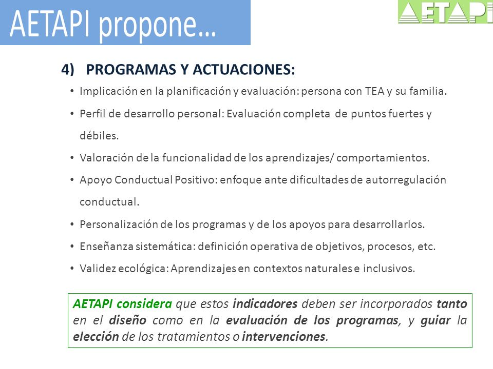 AETAPI propone… PROGRAMAS Y ACTUACIONES:
