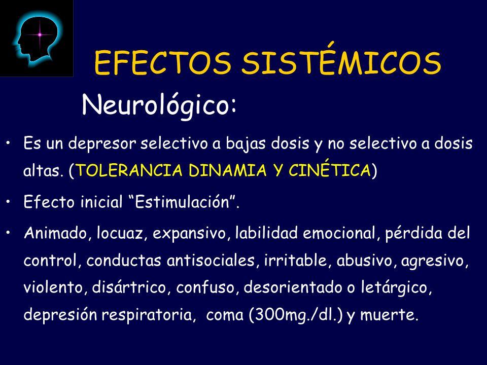 EFECTOS SISTÉMICOS Neurológico: