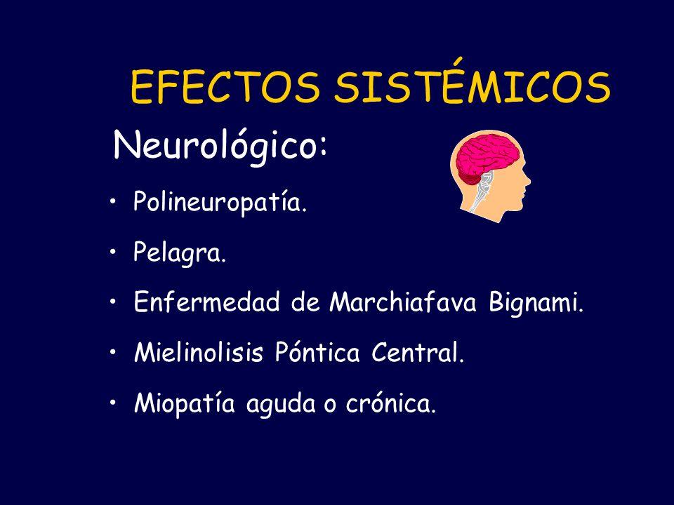 EFECTOS SISTÉMICOS Neurológico: Polineuropatía. Pelagra.