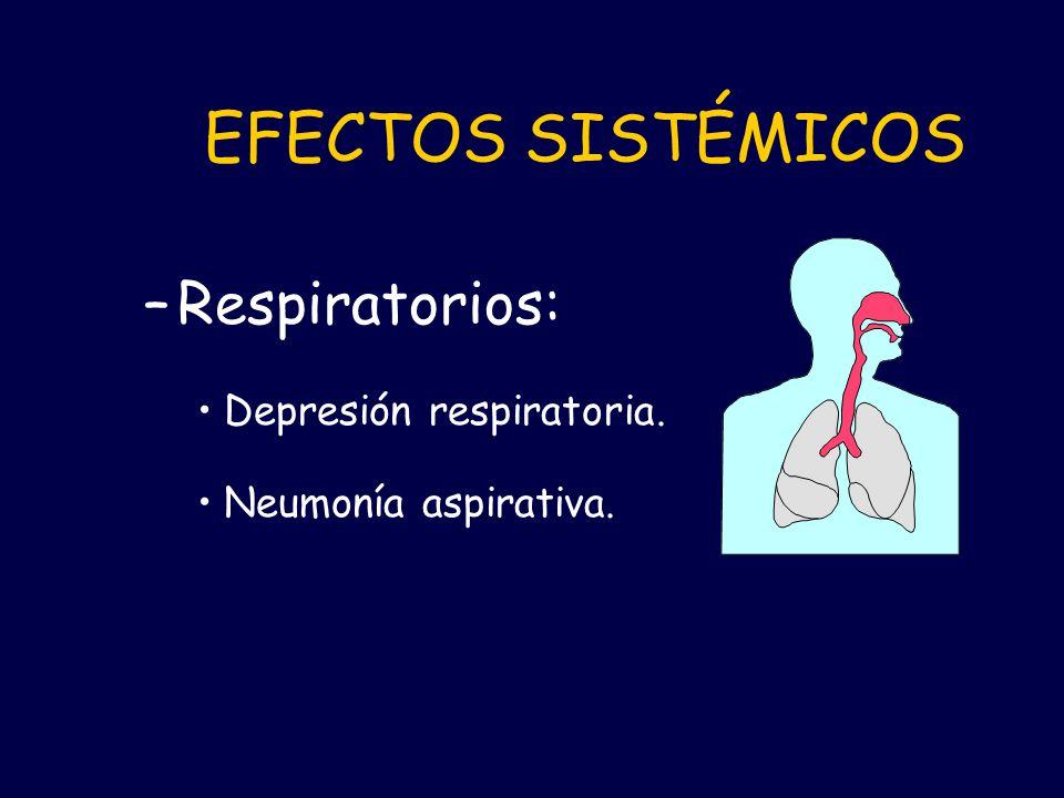 EFECTOS SISTÉMICOS Respiratorios: Depresión respiratoria.