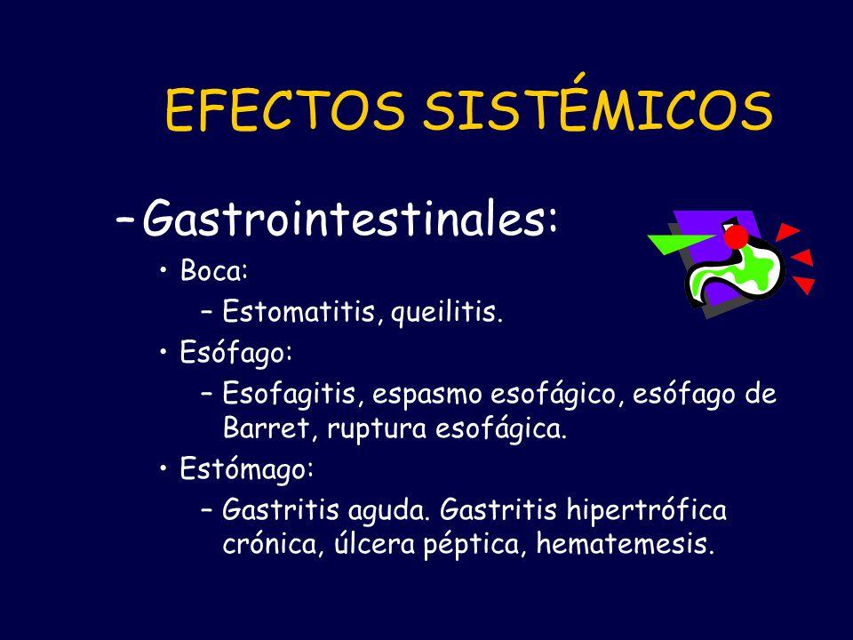 EFECTOS SISTÉMICOS Gastrointestinales: Boca: Estomatitis, queilitis.