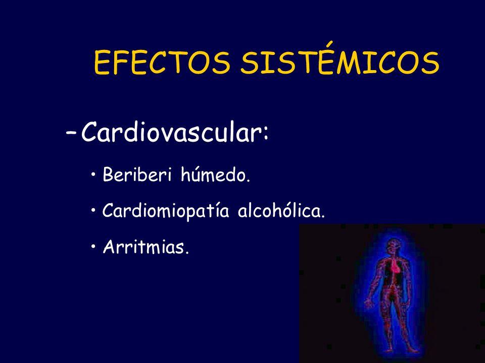 EFECTOS SISTÉMICOS Cardiovascular: Beriberi húmedo.