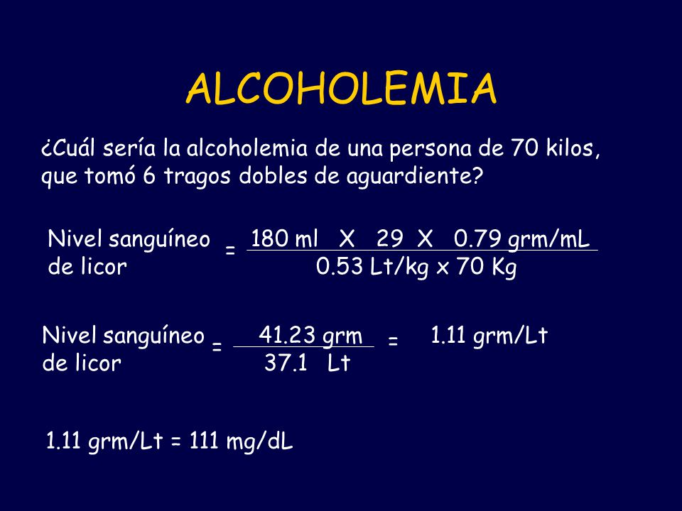 ALCOHOLEMIA ¿Cuál sería la alcoholemia de una persona de 70 kilos, que tomó 6 tragos dobles de aguardiente