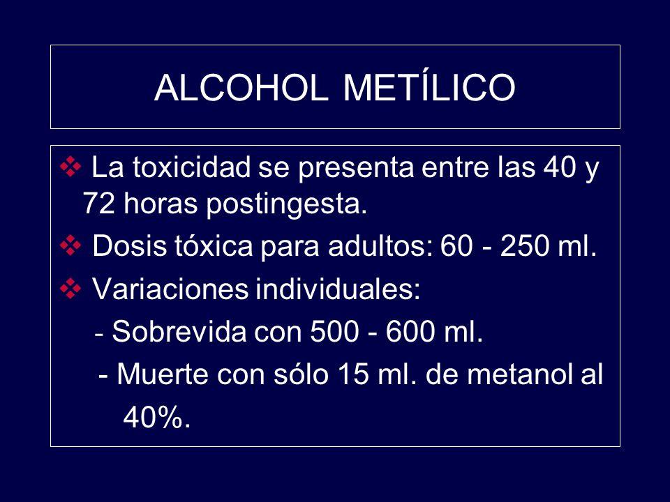 ALCOHOL METÍLICO La toxicidad se presenta entre las 40 y 72 horas postingesta. Dosis tóxica para adultos: 60 - 250 ml.