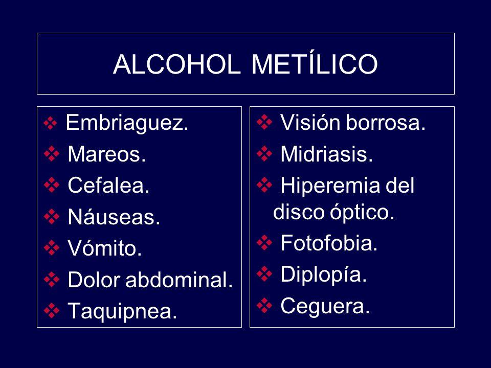 ALCOHOL METÍLICO Mareos. Cefalea. Náuseas. Vómito. Dolor abdominal.