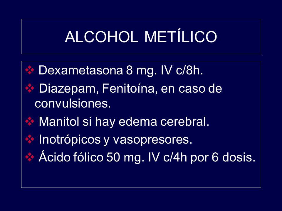 ALCOHOL METÍLICO Dexametasona 8 mg. IV c/8h.