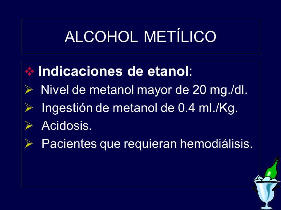 ALCOHOL METÍLICO Indicaciones de etanol: