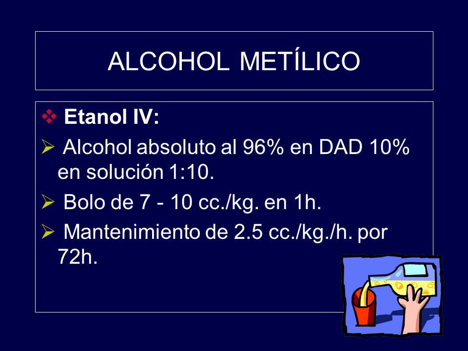 ALCOHOL METÍLICO Etanol IV: