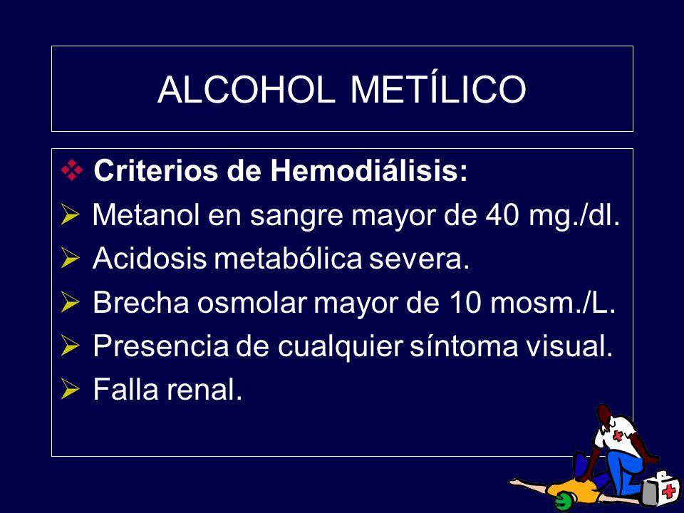 ALCOHOL METÍLICO Criterios de Hemodiálisis:
