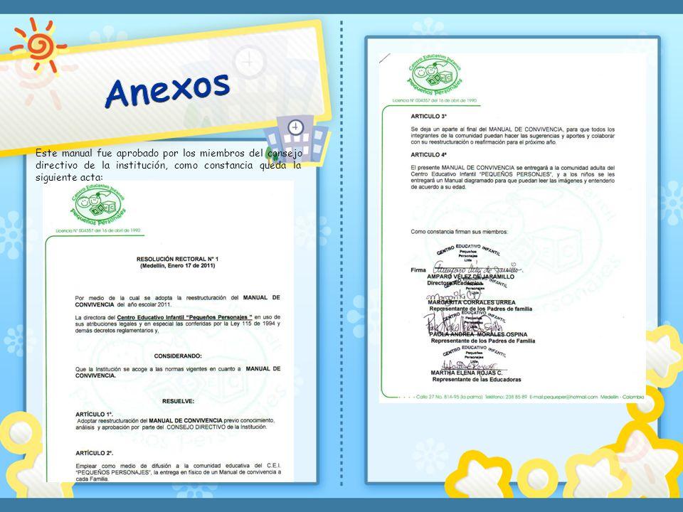 Anexos Este manual fue aprobado por los miembros del consejo directivo de la institución, como constancia queda la siguiente acta: