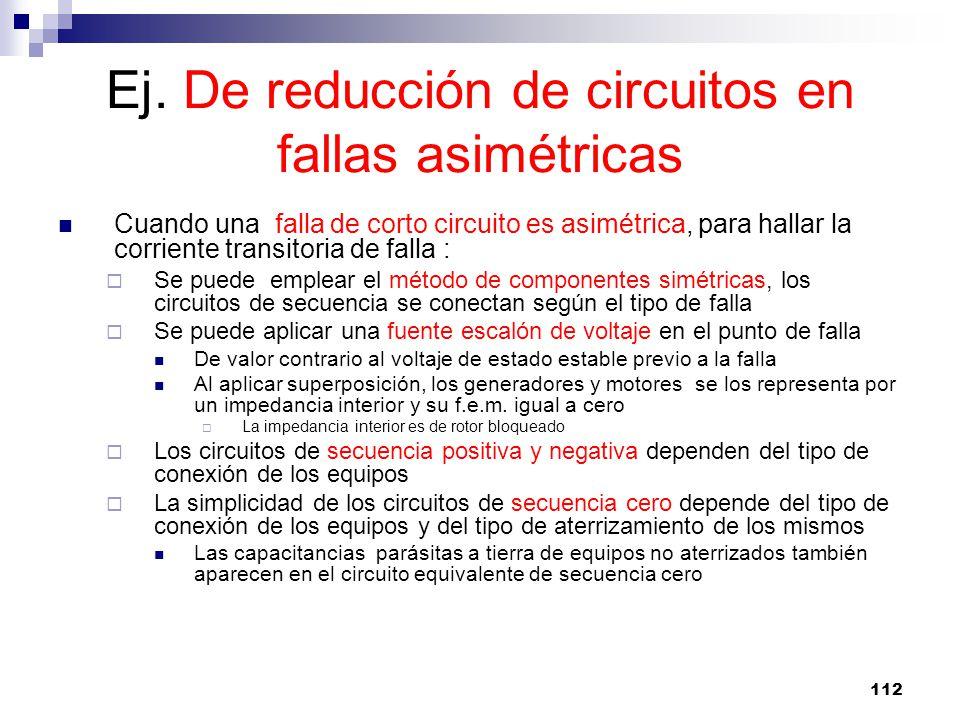 Ej. De reducción de circuitos en fallas asimétricas