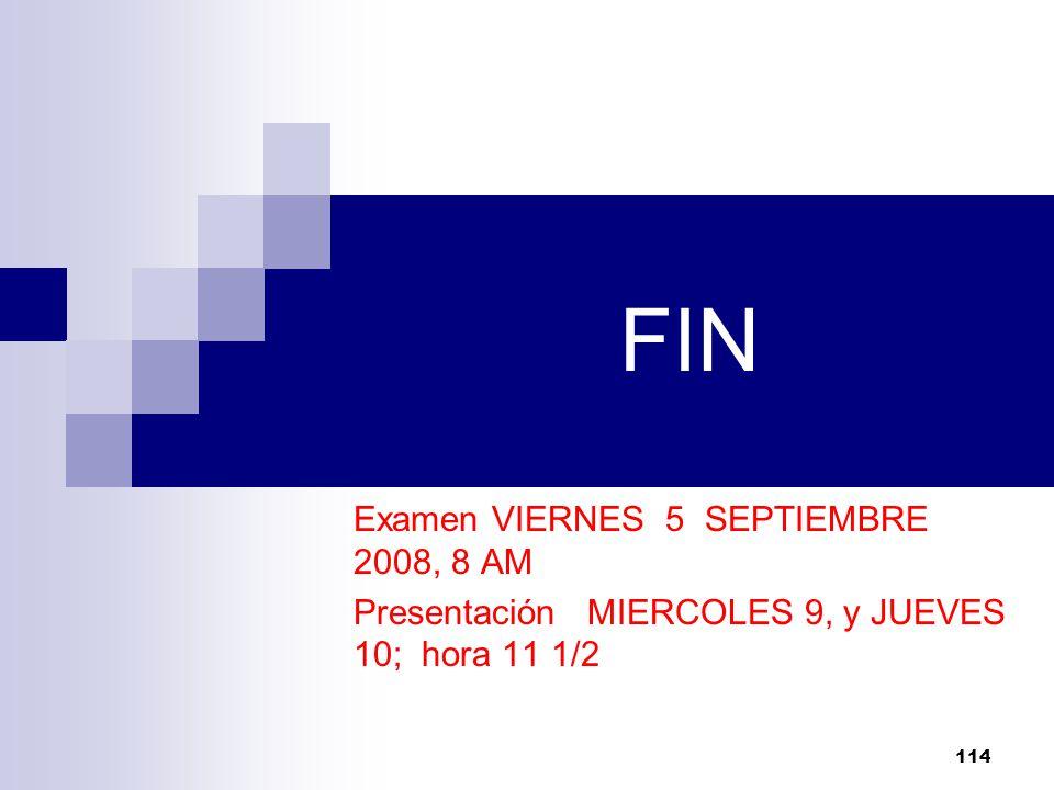 FIN Examen VIERNES 5 SEPTIEMBRE 2008, 8 AM