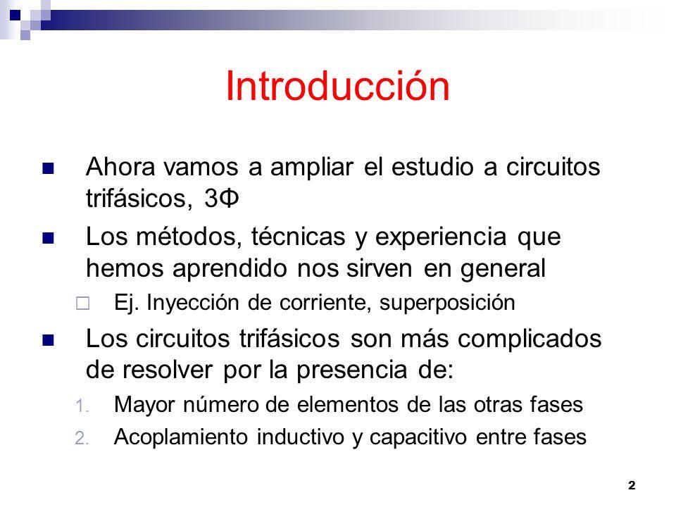 Introducción Ahora vamos a ampliar el estudio a circuitos trifásicos, 3Φ.