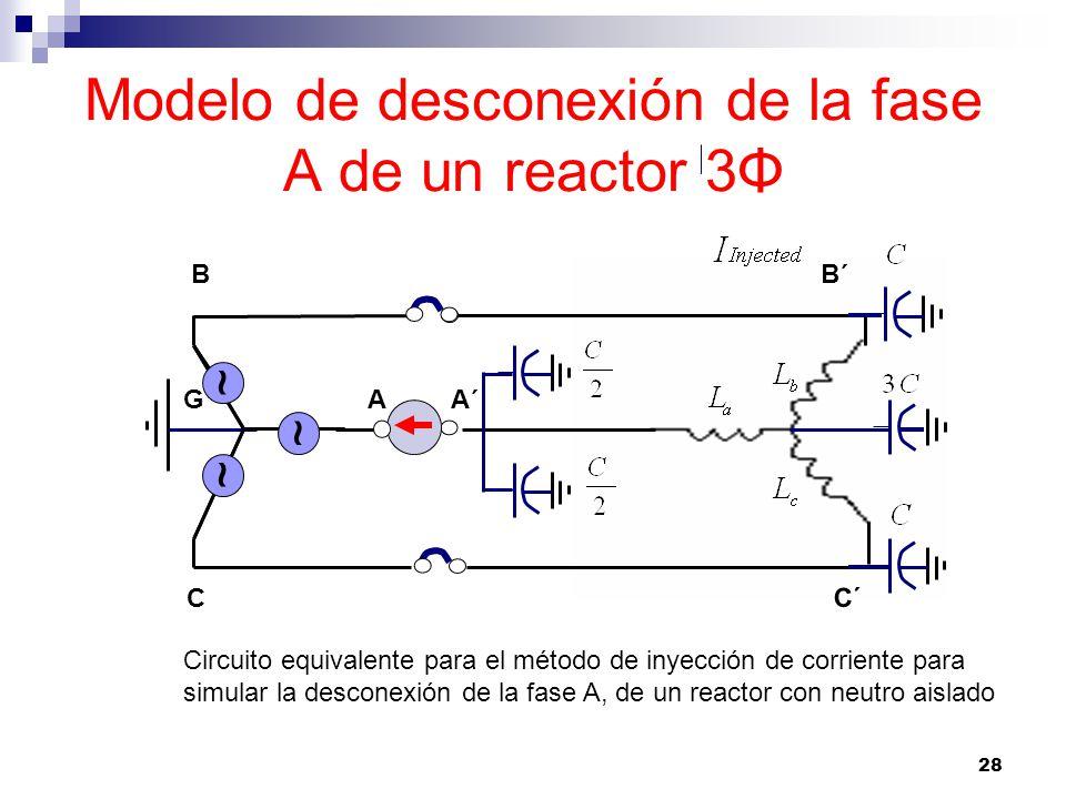 Modelo de desconexión de la fase A de un reactor 3Φ