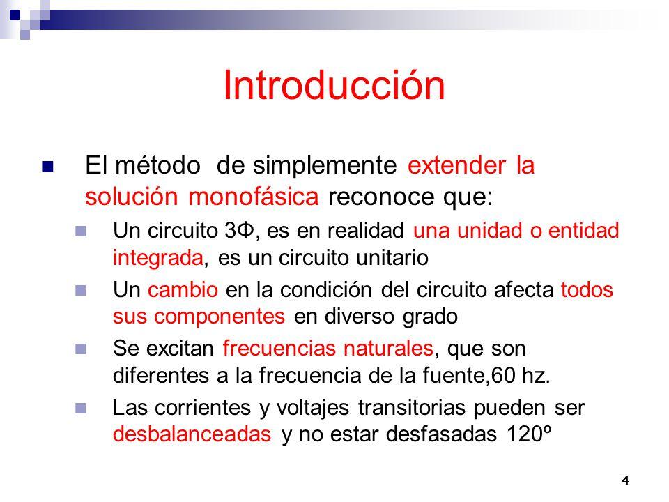 Introducción El método de simplemente extender la solución monofásica reconoce que: