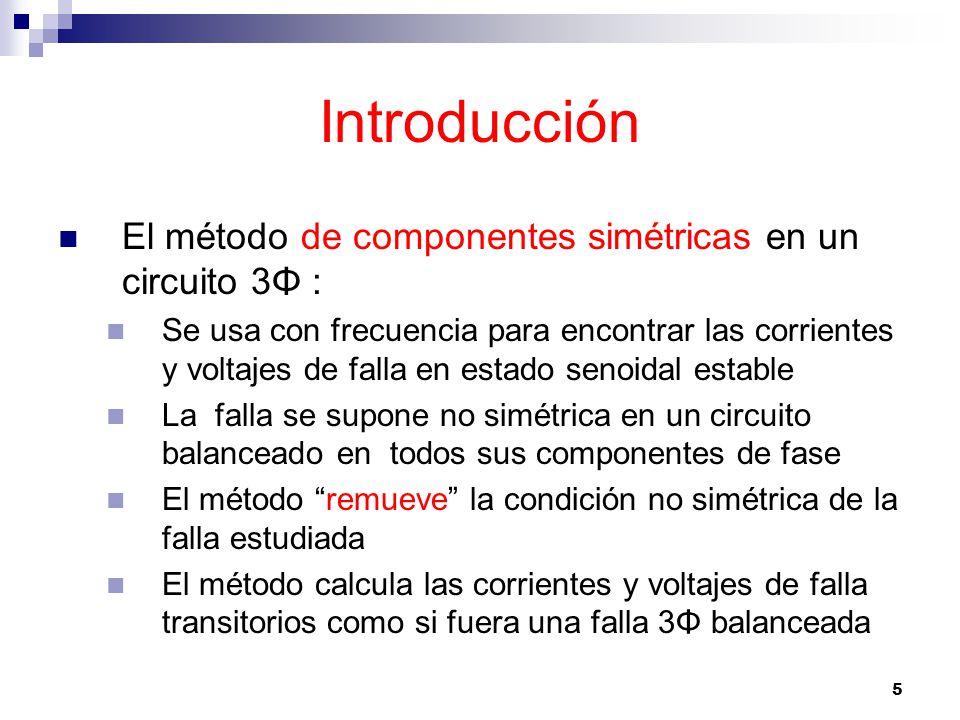 Introducción El método de componentes simétricas en un circuito 3Φ :