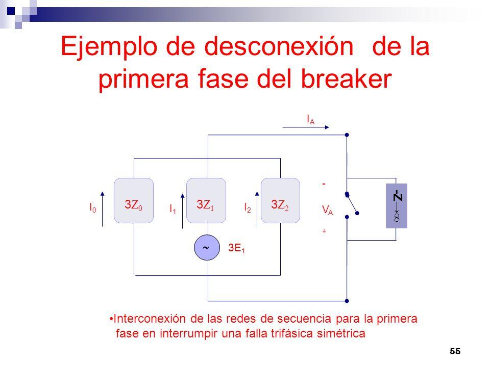 Ejemplo de desconexión de la primera fase del breaker