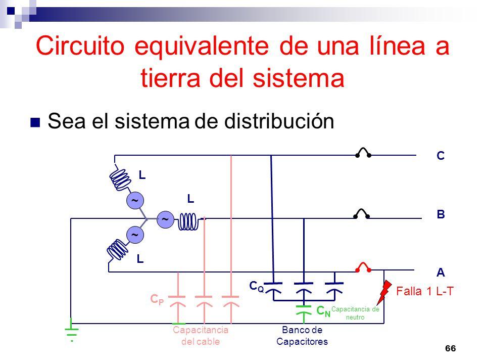 Circuito equivalente de una línea a tierra del sistema