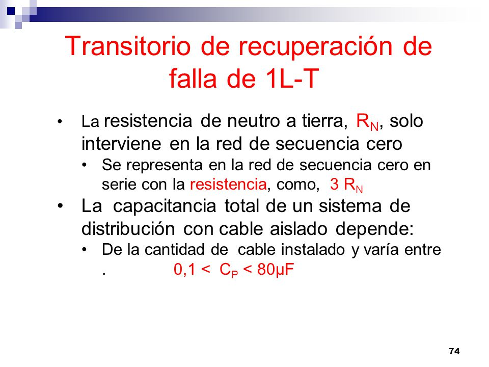 Transitorio de recuperación de falla de 1L-T