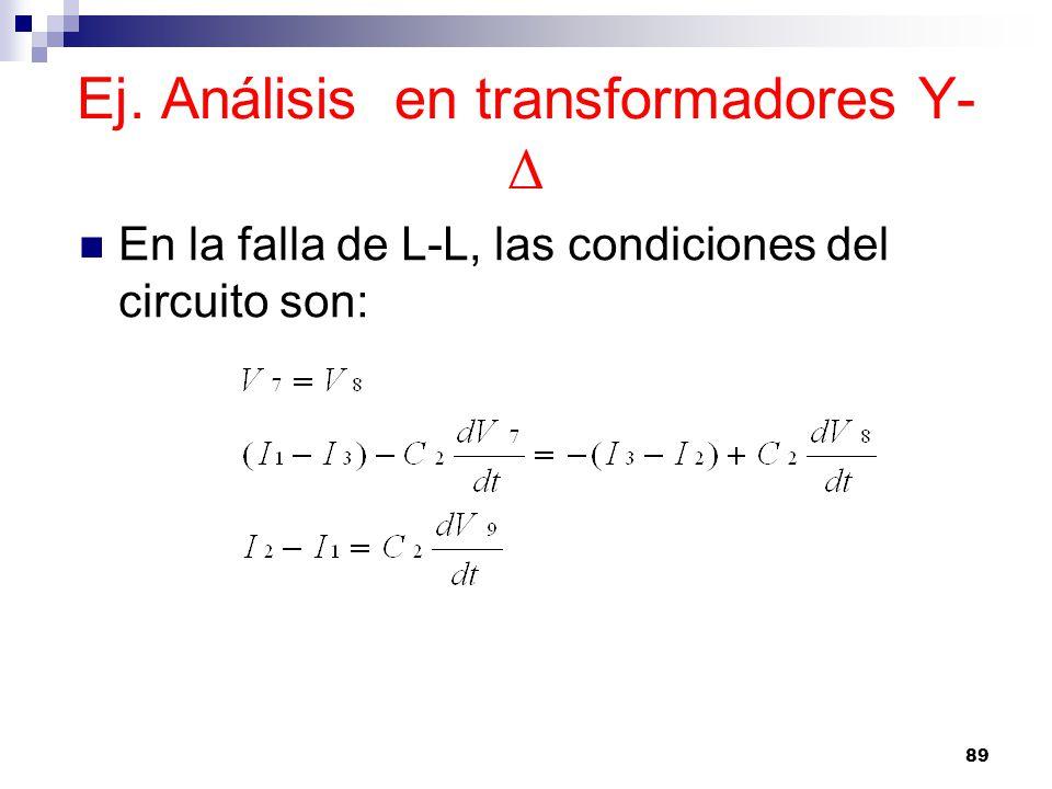 Ej. Análisis en transformadores Y-Δ