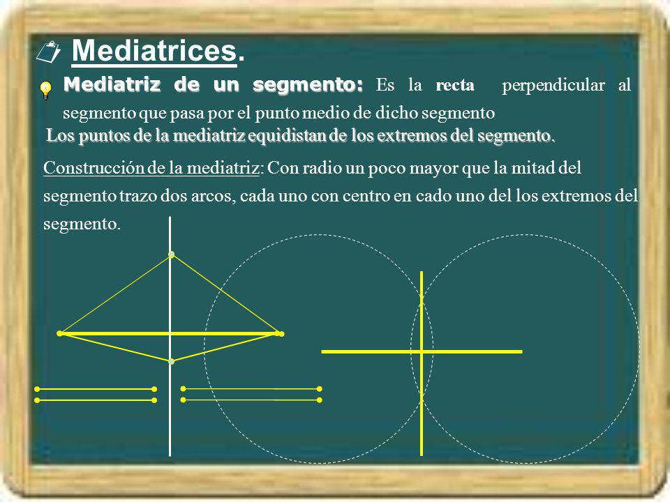  Mediatrices. Mediatriz de un segmento: Es la recta perpendicular al segmento que pasa por el punto medio de dicho segmento.