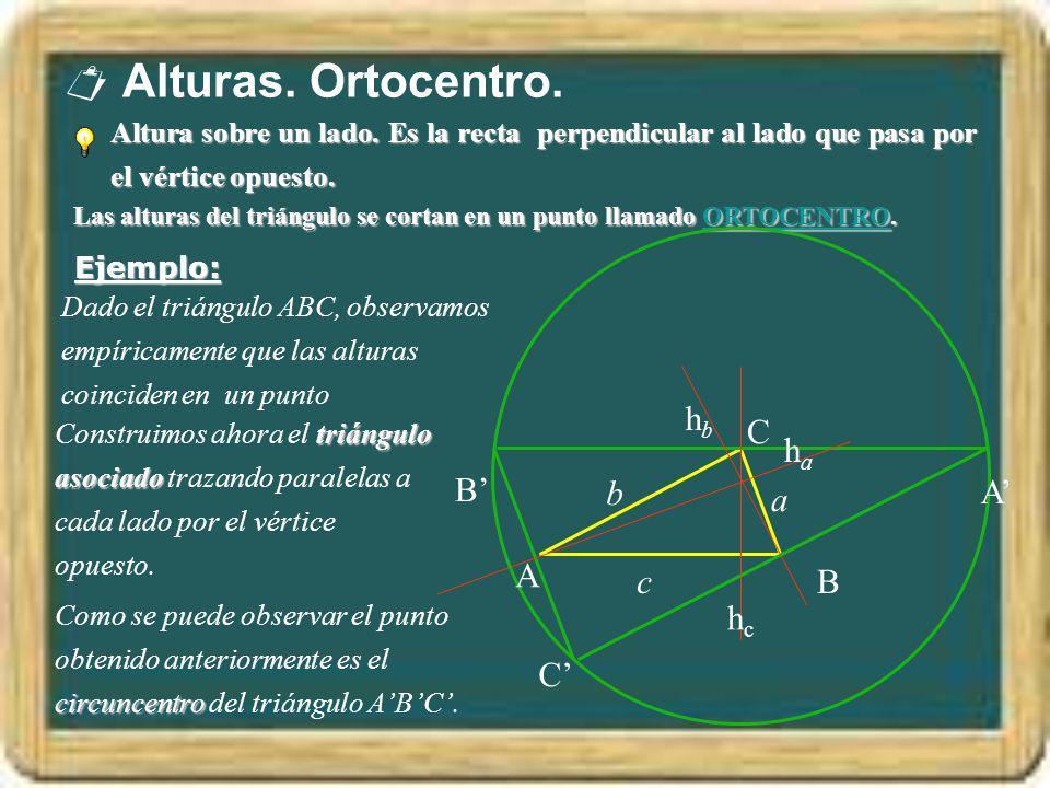  Alturas. Ortocentro. hb C ha B' b A' a A c B hc C'