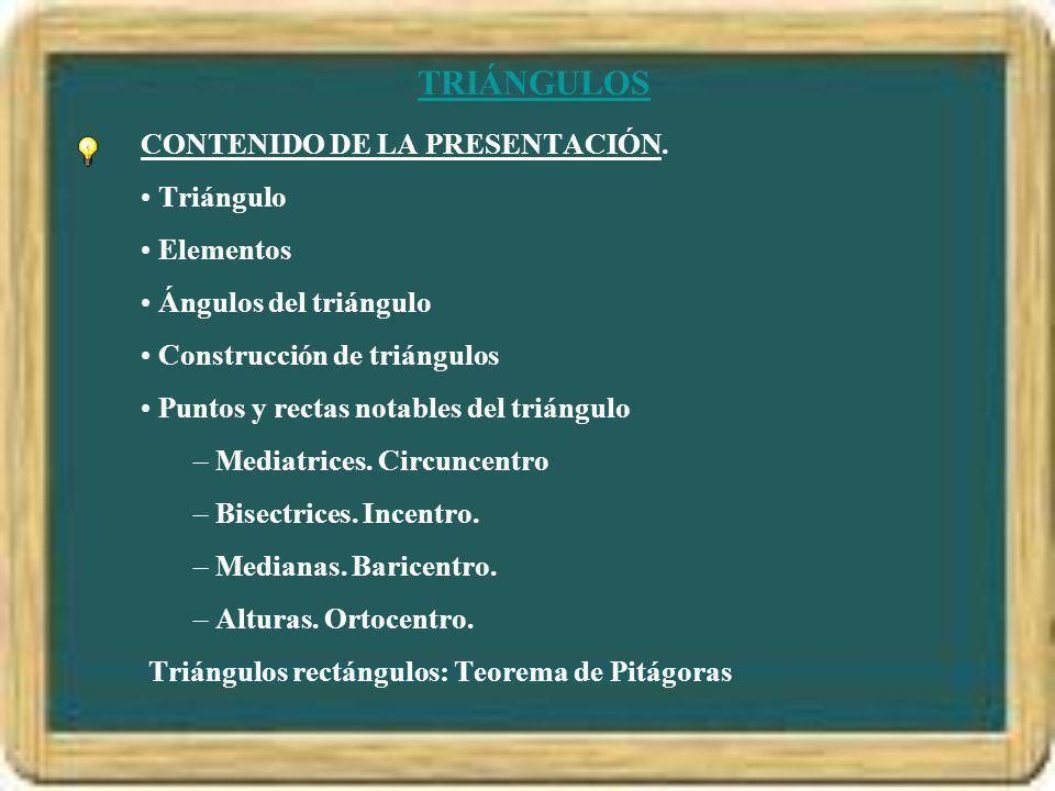 TRIÁNGULOS CONTENIDO DE LA PRESENTACIÓN. Triángulo Elementos