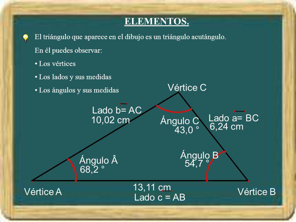 ELEMENTOS. Vértice B Vértice A Vértice C 13,11 cm 6,24 cm 10,02 cm
