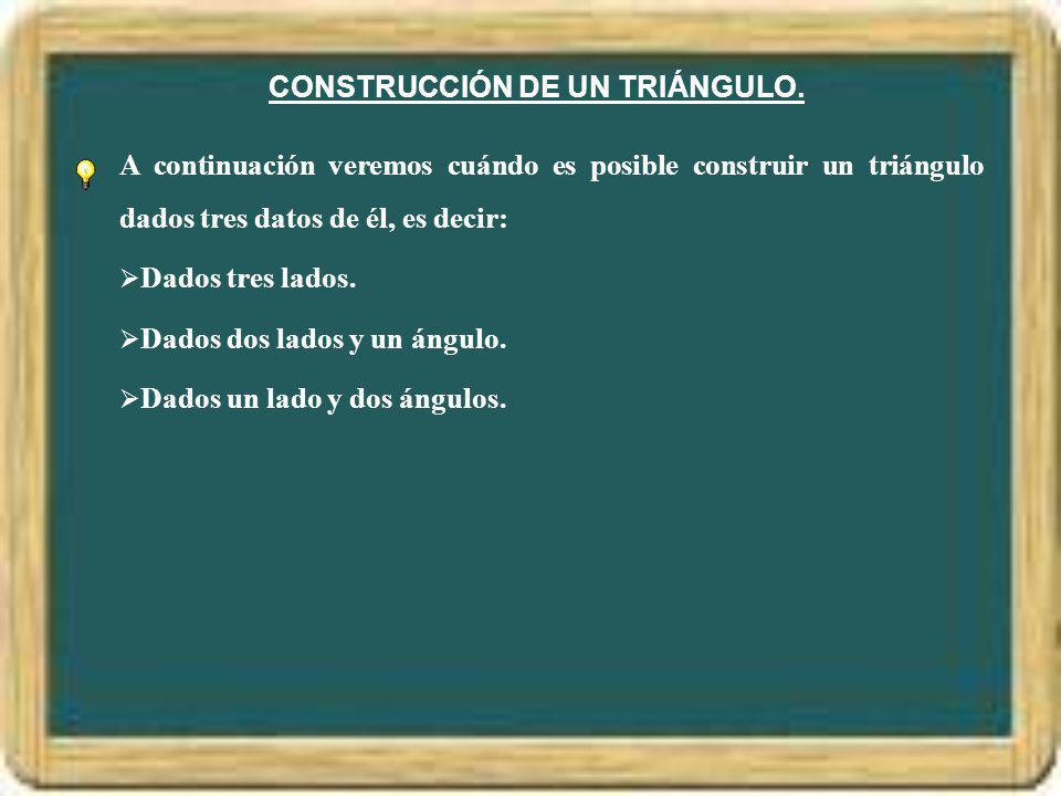 CONSTRUCCIÓN DE UN TRIÁNGULO.