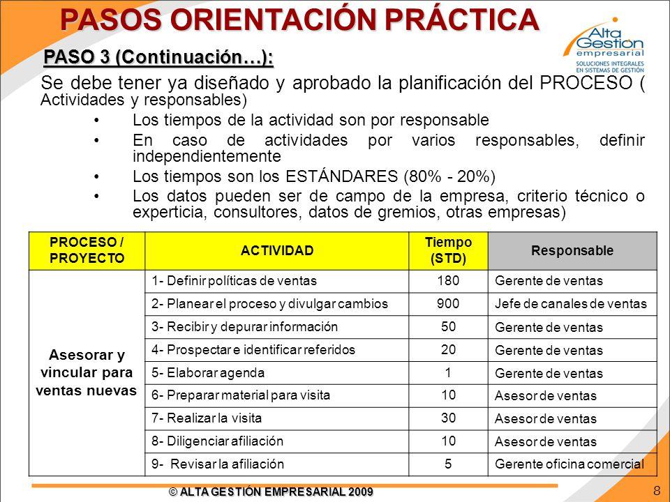 PASOS ORIENTACIÓN PRÁCTICA Asesorar y vincular para ventas nuevas