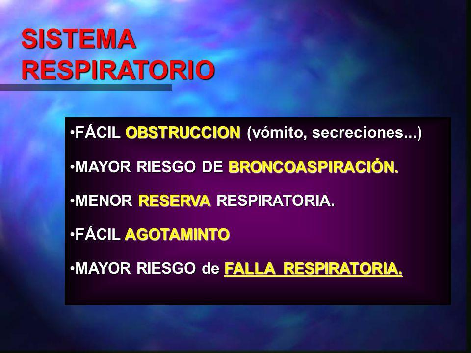 SISTEMA RESPIRATORIO FÁCIL OBSTRUCCION (vómito, secreciones...)
