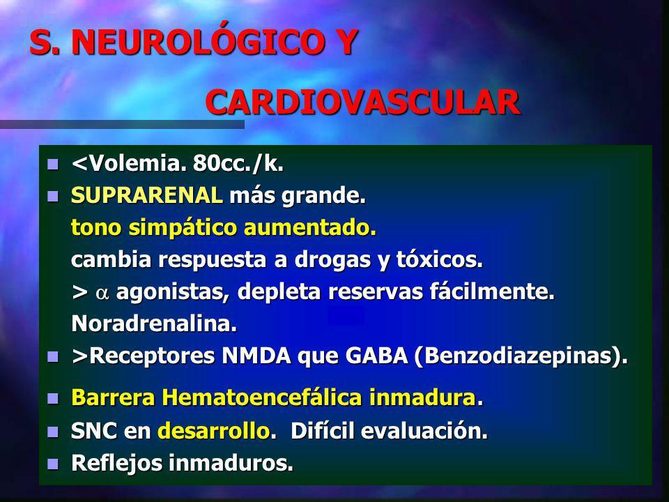 S. NEUROLÓGICO Y CARDIOVASCULAR <Volemia. 80cc./k.