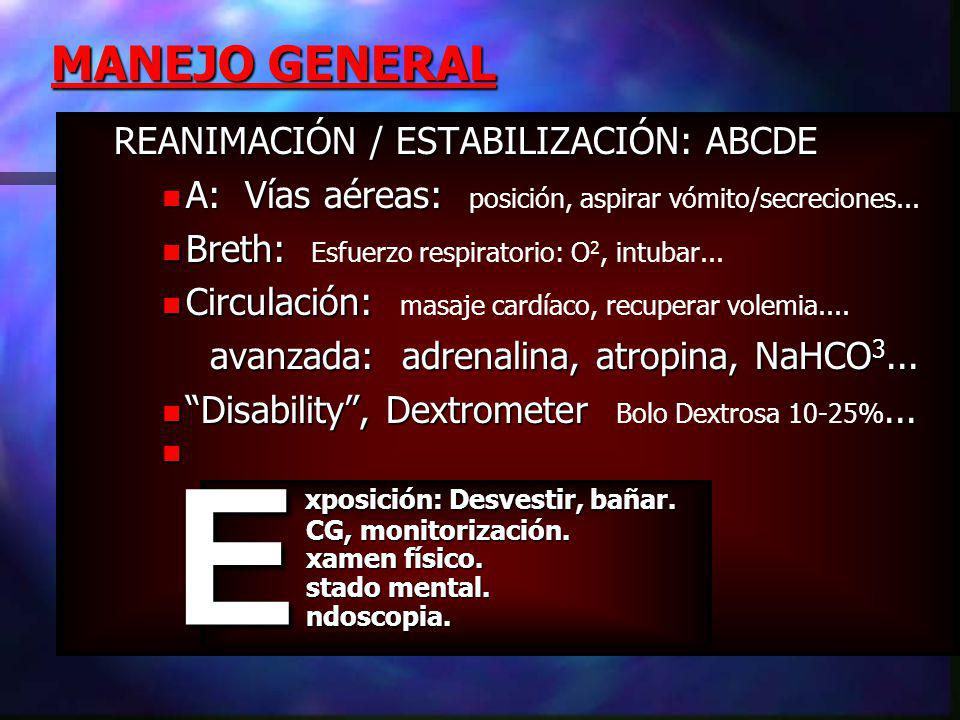 E MANEJO GENERAL REANIMACIÓN / ESTABILIZACIÓN: ABCDE