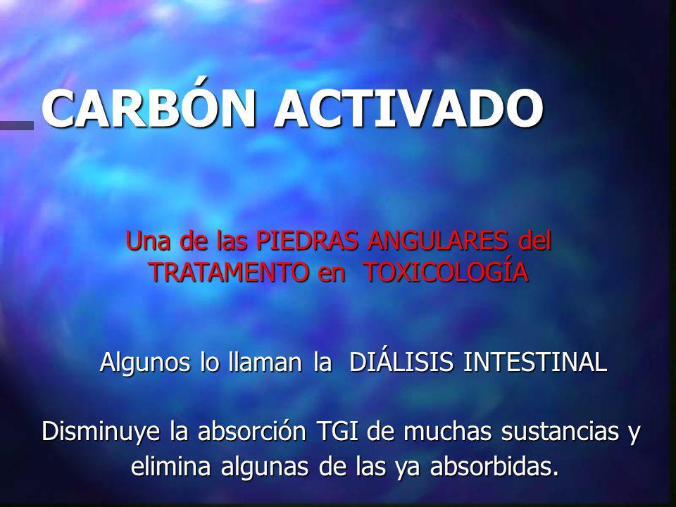 CARBÓN ACTIVADO Una de las PIEDRAS ANGULARES del TRATAMENTO en TOXICOLOGÍA. Algunos lo llaman la DIÁLISIS INTESTINAL.